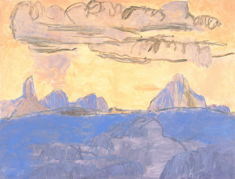 John Doyle art: Late Light, Glasshouse Mountains